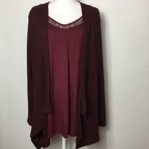 Faded Glory 3X Burgundy Attached Cardigan/Tank